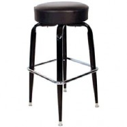 BAR STOOL BLACK CHROME VINYL TOP