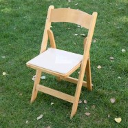 CHAIR WOOD NATURAL WITH TAN PAD
