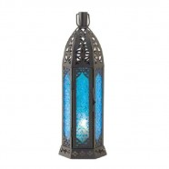"Lantern Hanging Black Moroccan 13"" tall"
