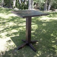TABLE WOOD SQUARE PEDISTAL corporate rental