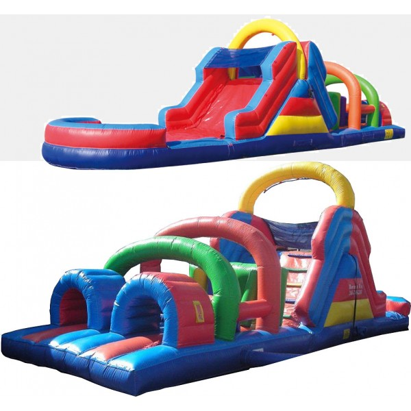 40FT WET or DRY OBSTACLE COURSE WITH 12FT SLIDE corporate rental